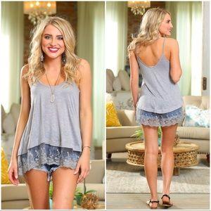 🌞SUMMER SALE🌞 Light gray Lace trim Cami tunic